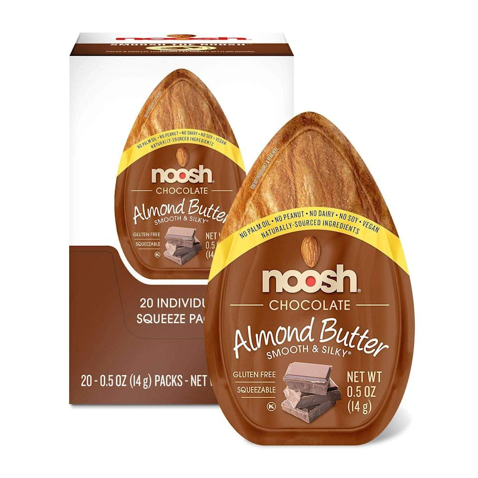 "<p>These <a href=""https://www.popsugar.com/buy/Noosh-Almond-Butter-Chocolate-Packets-585348?p_name=Noosh%20Almond%20Butter%20Chocolate%20Packets&retailer=amazon.com&pid=585348&price=18&evar1=fit%3Aus&evar9=45727565&evar98=https%3A%2F%2Fwww.popsugar.com%2Ffitness%2Fphoto-gallery%2F45727565%2Fimage%2F47249038%2FFor-Chocolate-Lovers&list1=shopping%2Camazon%2Chealthy%20snacks%2Csnacks&prop13=api&pdata=1"" class=""link rapid-noclick-resp"" rel=""nofollow noopener"" target=""_blank"" data-ylk=""slk:Noosh Almond Butter Chocolate Packets"">Noosh Almond Butter Chocolate Packets</a> ($18 for 20 packets) have 80 calories and four grams of carbs per serving, plus they're surprisingly filling. Basically, we just found our new go-to snack.</p>"