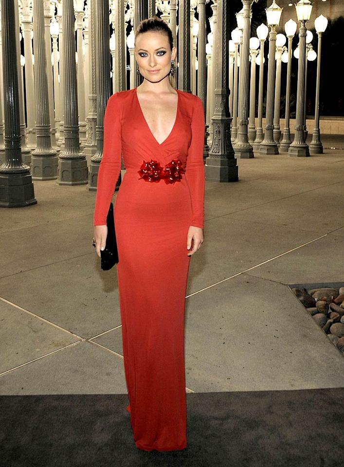 6. Olivia Wilde -- in a plunging Gucci dress with floral detailing and sleek ponytail -- at the LACMA Art and Film gala. (11/05/2011)
