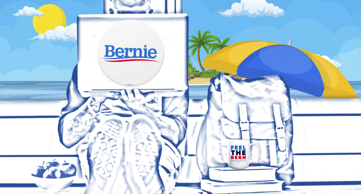Bernie Sanders's online summer school. (Photo illustration: Yahoo News; photos: Getty Images)