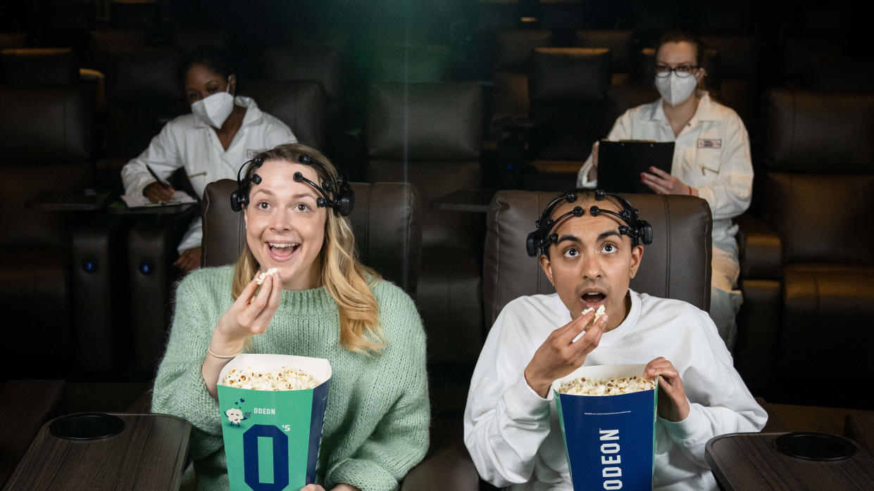 The experiment monitored the brain activity of viewers watching a film on the big screen and on a television (ODEON)