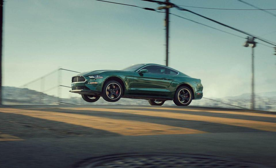 """<p>In, ahem, launching its newest Bullitt-edition Mustang, Ford staged a drive event in San Francisco, California, on the same mean streets as the famed chase scene from the 1968 <em>Bullitt</em> film. Naturally, some intelligent human in Ford's marketing department ginned up this photo of <a href=""""https://www.caranddriver.com/reviews/2019-ford-mustang-bullitt-first-drive-review"""" rel=""""nofollow noopener"""" target=""""_blank"""" data-ylk=""""slk:the 2019 Mustang Bullitt"""" class=""""link rapid-noclick-resp"""">the 2019 Mustang Bullitt</a> leaping over San Fran's hilly topography.</p>"""