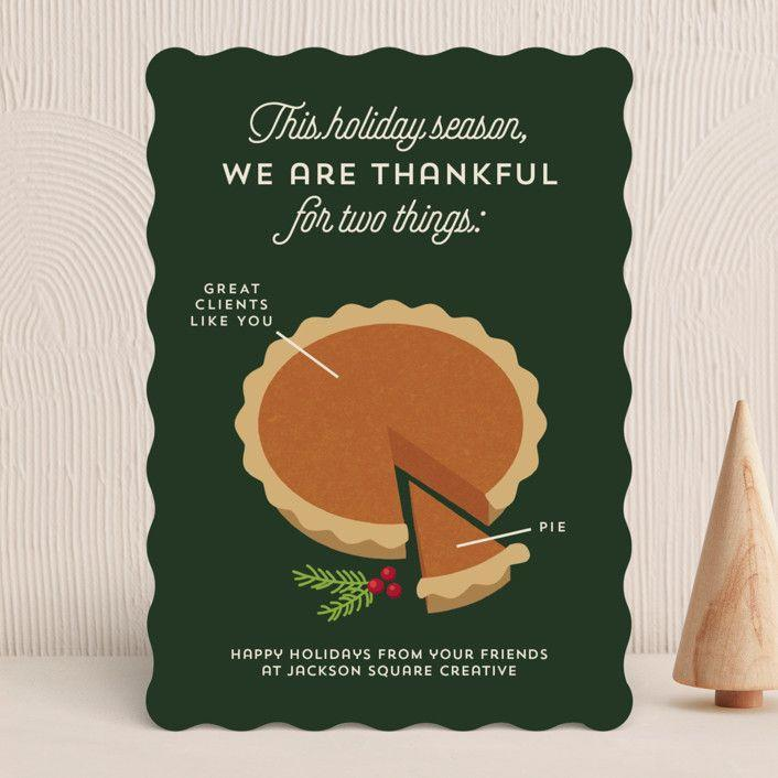 """<p>minted.com</p><p><strong>$65.00</strong></p><p><a href=""""https://go.redirectingat.com?id=74968X1596630&url=https%3A%2F%2Fwww.minted.com%2Fproduct%2Fbusiness-holiday-cards%2FMIN-7GI-HCP%2Fpie-chart&sref=https%3A%2F%2Fwww.countryliving.com%2Fshopping%2Fg4689%2Fthanksgiving-cards%2F"""" rel=""""nofollow noopener"""" target=""""_blank"""" data-ylk=""""slk:Shop Now"""" class=""""link rapid-noclick-resp"""">Shop Now</a></p><p>Personalize this cleverly illustrated card with your own message.</p>"""