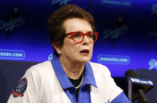FILE - In this Friday, Sept. 21, 2018, file photo, tennis champion Billie Jean King speaks during a news conference the Los Angeles Dodgers announced that she and her partner Ilana Kloss are joining the Los Angeles Dodgers ownership group in Los Angeles. Groups that advocate for civil rights and womens rights have joined notable athletes in asking the NCAA to move the first and second rounds of the 2021 mens basketball tournament out of Idaho after the state passed a law banning transgender women from competing in womens sports. A letter sent and signed by a list of professional athletes including Megan Rapinoe, Billie Jean King, Jason Collins and Sue Bird calls for the NCAA to move the games set to be held March 2021 at Boise State University. (AP Photo/Alex Gallardo, File)