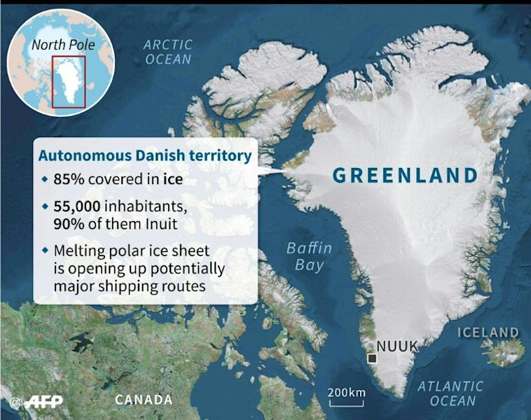 Map of Greenland with key facts about the autonomous Danish territory