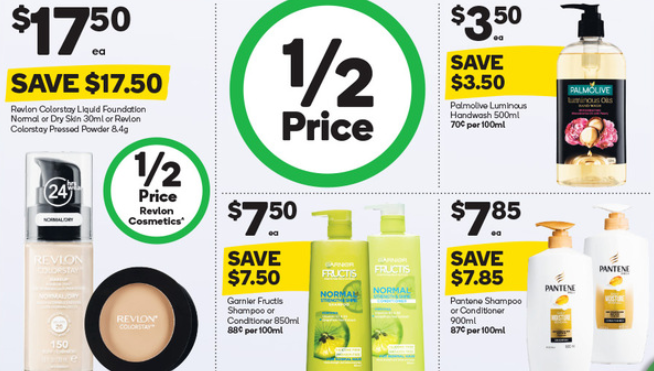 Revlon foundation, shampoos and handwash on sale for half-price at Woolworths.