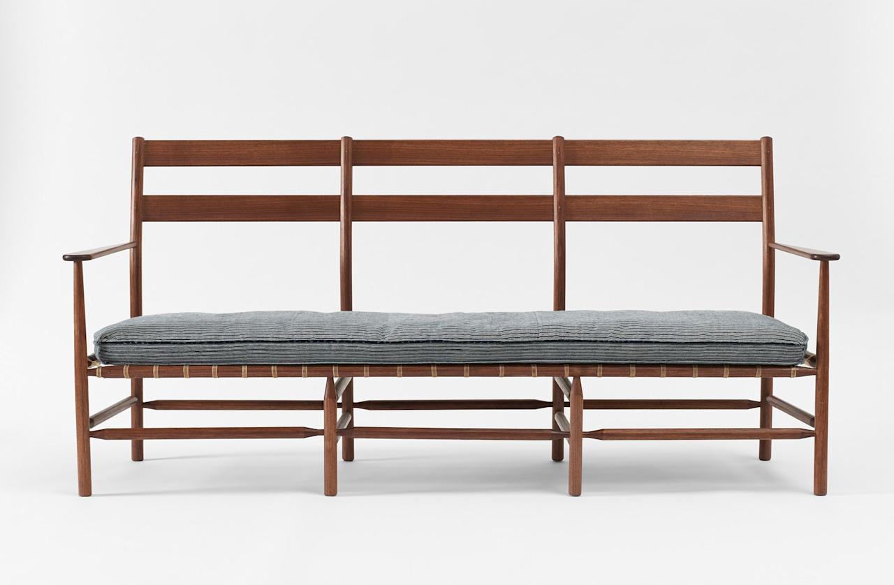 """<a rel=""""nofollow"""" href=""""http://www.brianpersico.com/"""">Brian Persico's</a> new Windham sofa, available from <a rel=""""nofollow"""" href=""""https://marchsf.com/"""">March SF</a>, is American all around.  Made here in the United States with homegrown walnut, it is inspired by the classic ladderback chair."""