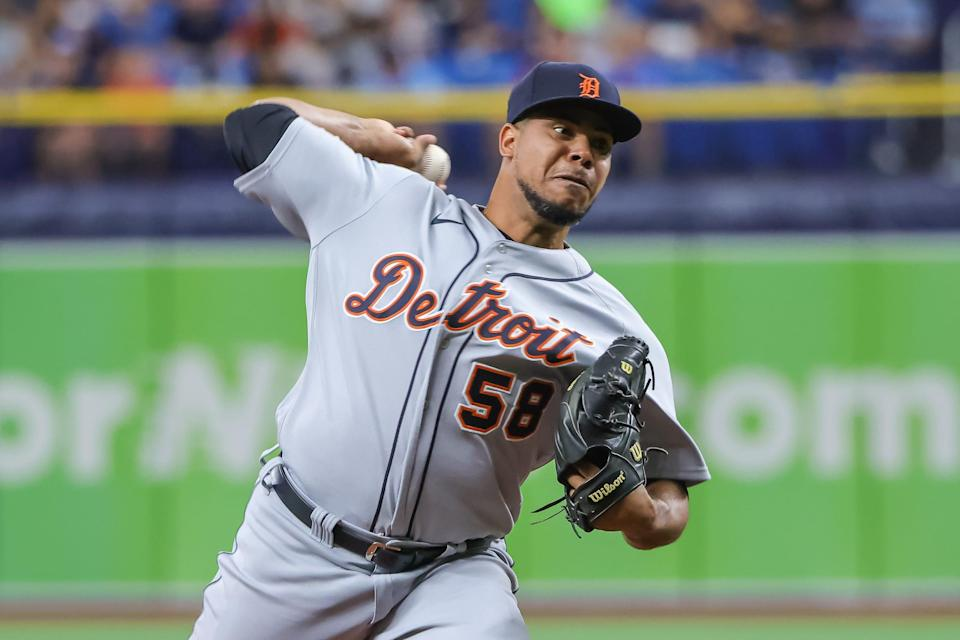 Tigers pitcher Wily Peralta throws a pitch during the first inning against the Rays on Sunday, Sept. 19, 2021, in St. Petersburg, Florida.