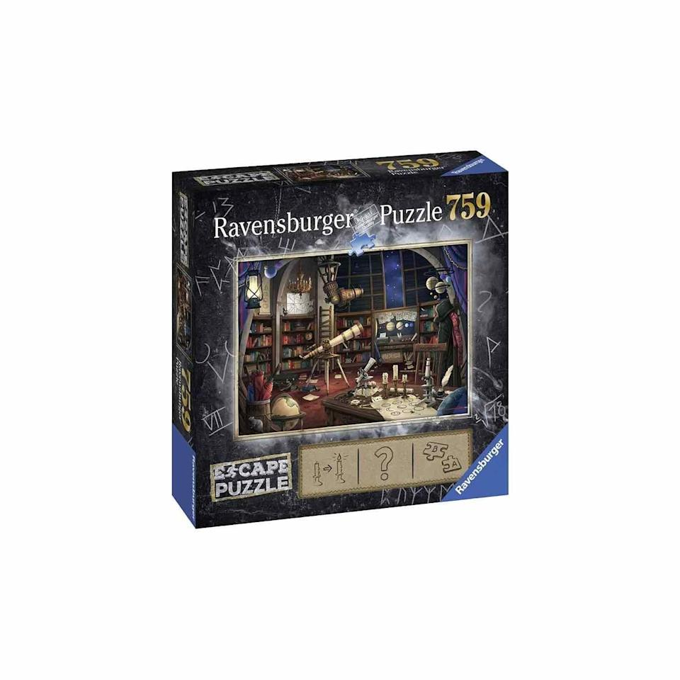 """<p><strong>Ravensburger</strong></p><p>amazon.com</p><p><strong>$18.83</strong></p><p><a href=""""https://www.amazon.com/dp/B07GWKBJJV?tag=syn-yahoo-20&ascsubtag=%5Bartid%7C10072.g.33543751%5Bsrc%7Cyahoo-us"""" rel=""""nofollow noopener"""" target=""""_blank"""" data-ylk=""""slk:Shop Now"""" class=""""link rapid-noclick-resp"""">Shop Now</a></p><p>This unique 759-piece jigsaw puzzle requires stories and clues to complete the spooky witch's image. </p>"""