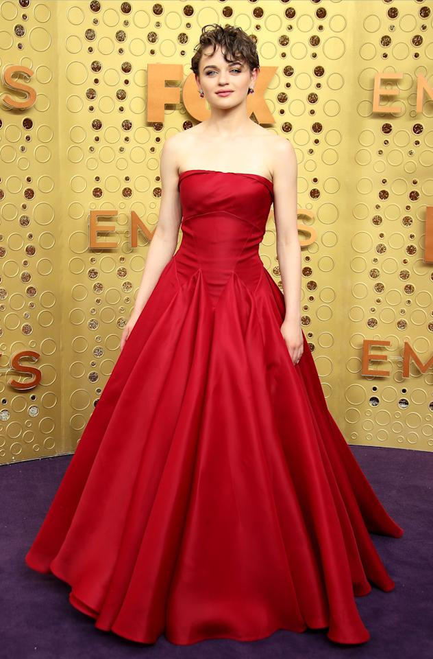 Pure Hollywood glamour. Nominee Joey attended the Emmy Awards looking every bit the star in a strapless red gown, her hair artfully tousled.