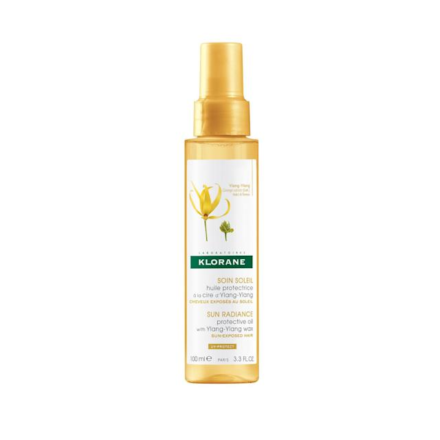 "<p>Sun, sand, and chlorine can wreak havoc on curls — especially color-treated curls. Spritz your hair with this lightweight oil formulated with ylang-ylang wax, which acts as a shield against the elements before, during, and after living it up outdoors. $12, <a href=""https://www.kloraneusa.com/protective-oil-with-ylang-ylang-wax"" rel=""nofollow noopener"" target=""_blank"" data-ylk=""slk:kloraneusa.com"" class=""link rapid-noclick-resp"">kloraneusa.com</a> (Photo: Courtesy of Klorane) </p>"