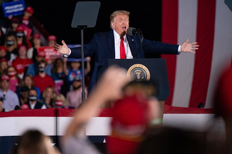 Donald Trump speaks at a campaign rally on 10 October 2020 in Macon, Georgia. (Getty Images)
