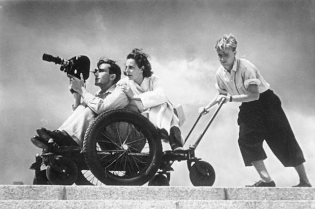 "<span class=""caption"">Riefenstahl filming at the 1936 Olympics.</span> <span class=""attribution""><span class=""source"">Bundesarchiv/Wikimedia</span></span>"