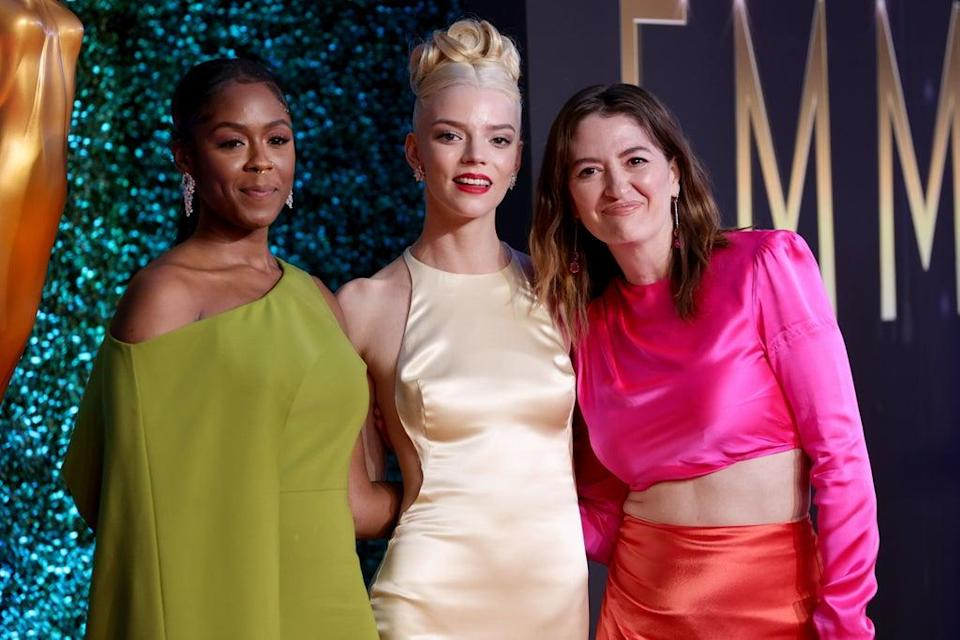 Moses Ingram, Anya Taylor-Joy, and Marielle Heller, winners of the Outstanding Limited Or Anthology Series award for The Queen's Gambit (Getty Images)