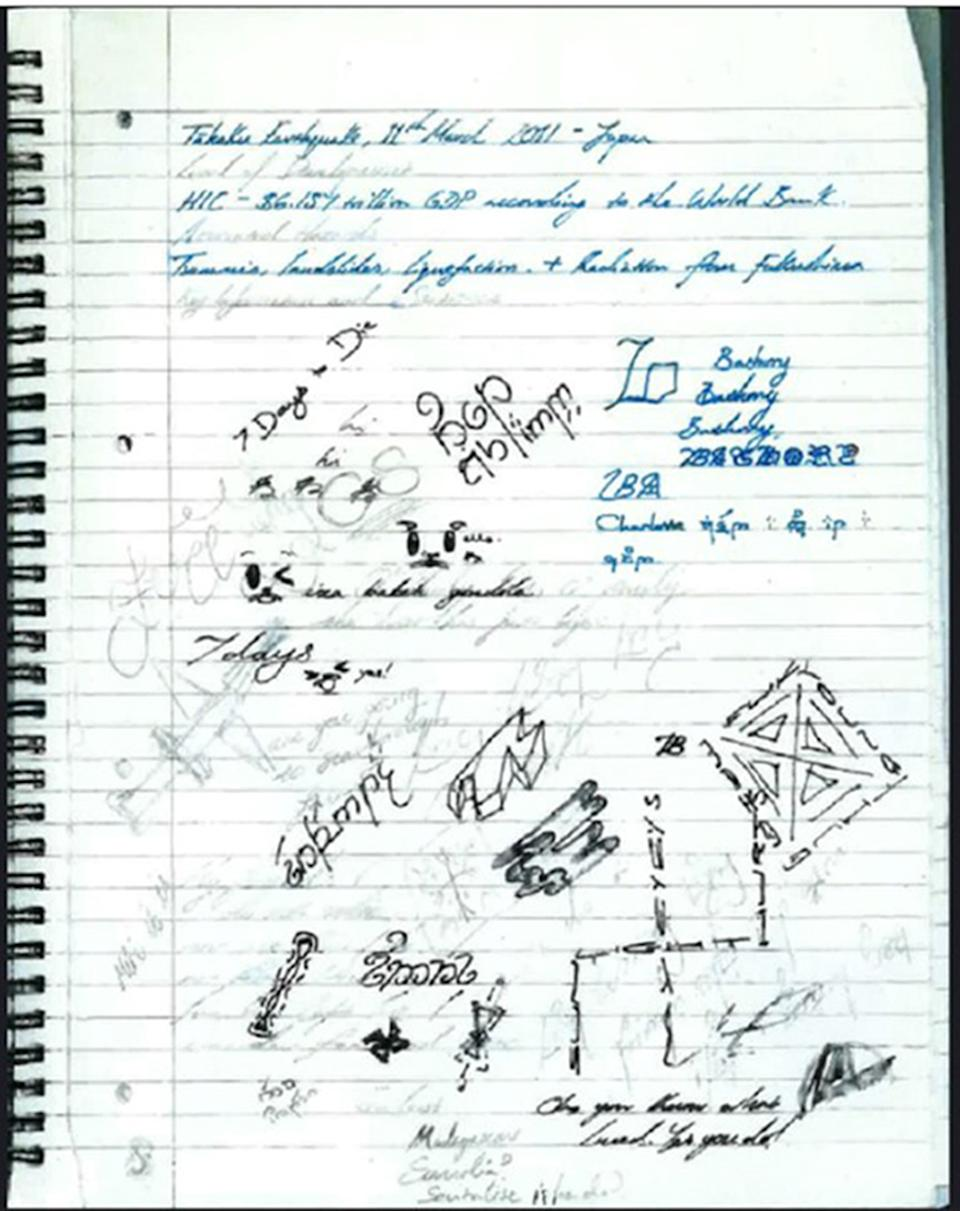 Doodles and notes in a notebook belonging to Hannam (PA)