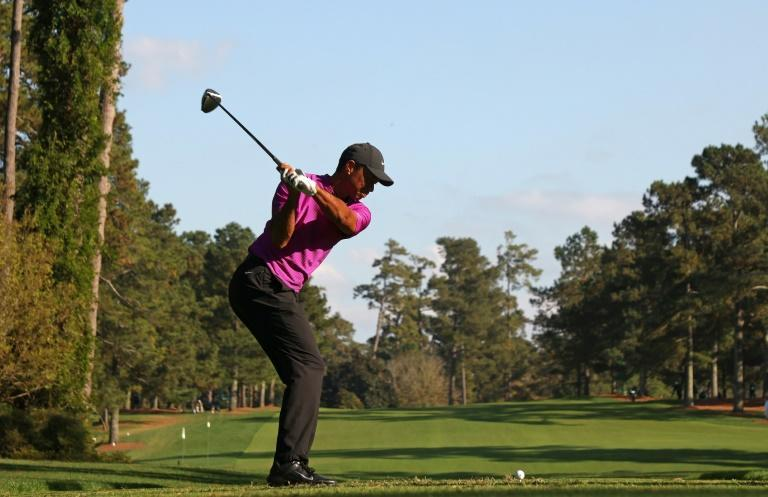 Tiger Woods tees off at the 17th at Augusta National in the third round of the Masters