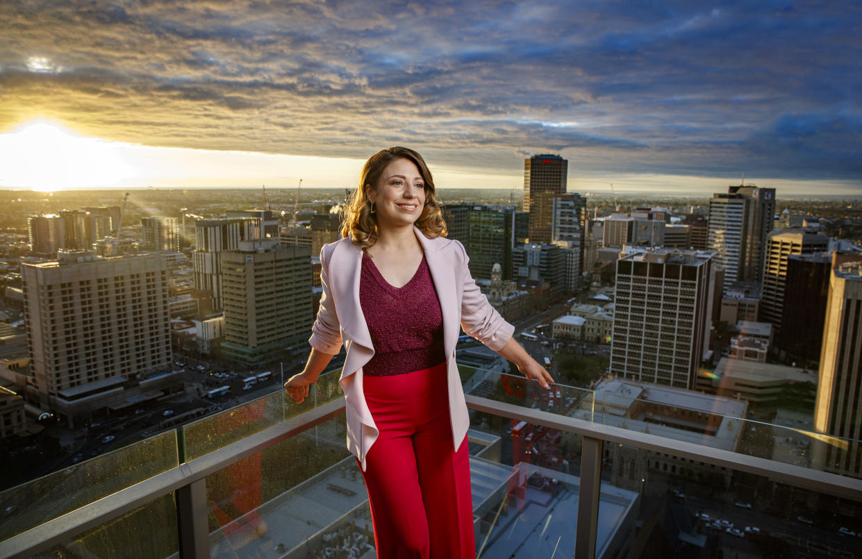AUGUST 13, 2019: ADELAIDE, SA - (EUROPE AND AUSTRALASIA OUT) Finnish Conductor Dalia Stasevska poses during a photo shoot in Adelaide, South Australia. (Photo by Matt Turner / Newspix via Getty Images)