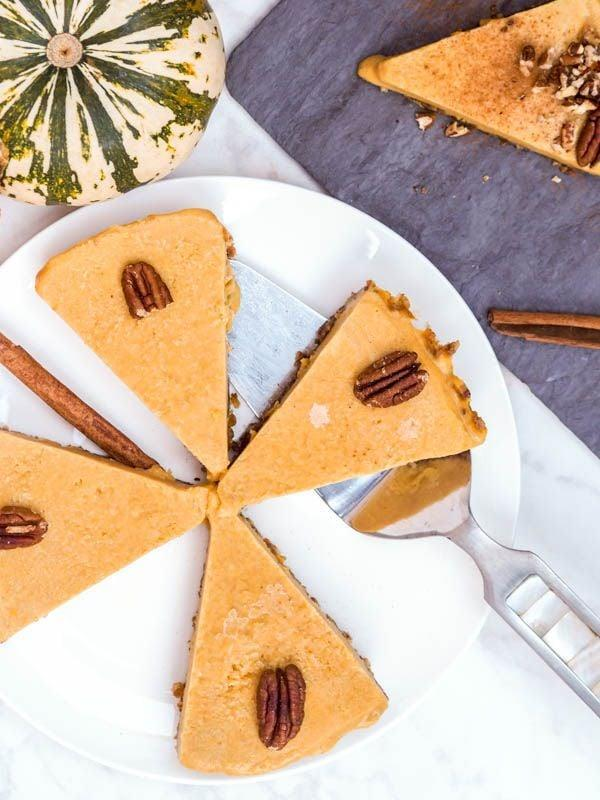 "<p>This no-bake pumpkin pie is free of gluten and refined sugars, meaning you can dig in without worrying about artificial ingredients. Top it off with warm nuts and a pinch of sugar.</p> <p><strong>Get the recipe:</strong> <a href=""https://avocadopesto.com/vegan-pumpkin-pie/"" class=""link rapid-noclick-resp"" rel=""nofollow noopener"" target=""_blank"" data-ylk=""slk:vegan pumpkin pie"">vegan pumpkin pie</a></p>"