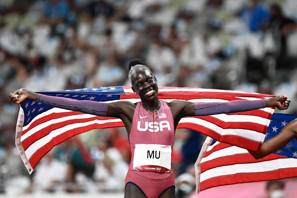 <p>USA's Athing Mu is all smiles after winning gold in the women's 800m final at the Olympic Stadium on August 3.</p>