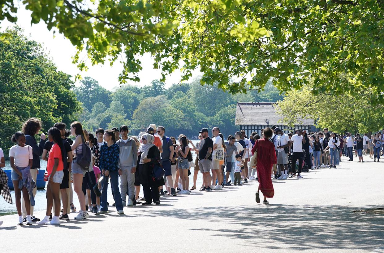 People queuing by the Serpentine for rowing and pedal boats in Hyde Park, London, on the first day of meteorological summer. Picture date: Tuesday June 1, 2021. (Photo by Yui Mok/PA Images via Getty Images)
