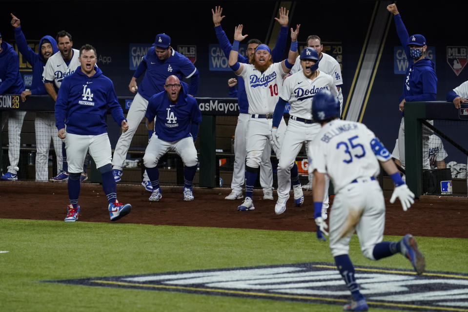 Cody Belliniger's seventh-inning homer sent the Dodgers to the World Series. (Photo by Cooper Neill/MLB Photos via Getty Images)
