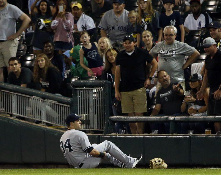 Dustin Fowler was carted off the field in his major-league debut. (AP Photo)