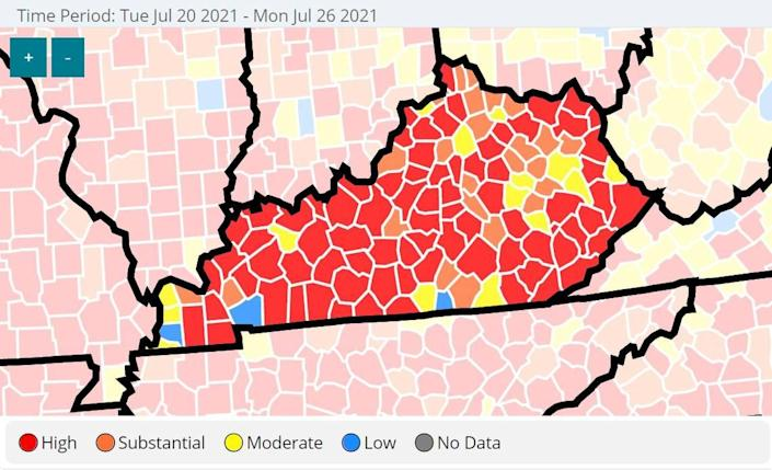 COVID-19 was spreading at high or substantial rates in 102 of Kentucky's 120 counties in late July 2020, according to the U.S. Centers for Disease Control and Prevention.