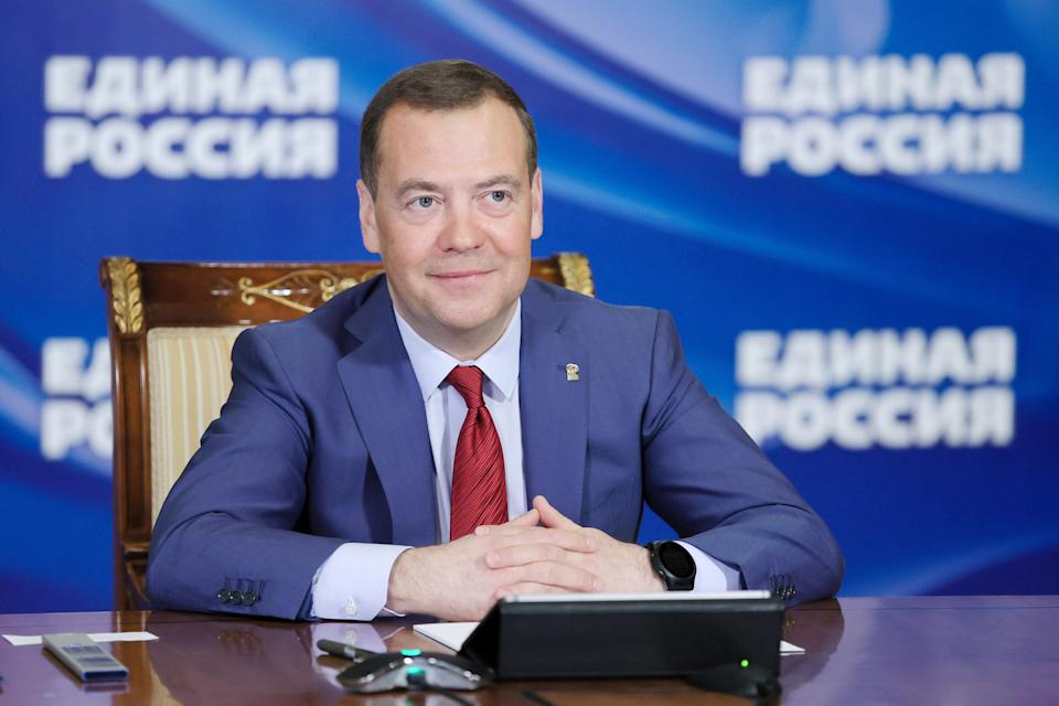 MOSCOW REGION, RUSSIA  MARCH 5, 2021. United Russia Party chairman, Russian Security Concil deputy chairman Dmitry Medvedev is seen in Gorki, Moscow Region, as he meets individually with members of the public via video link. One of the issues discussed was related to families with several children. Yekaterina Shtukina/POOL/TASS (Photo by Yekaterina Shtukina\TASS via Getty Images)
