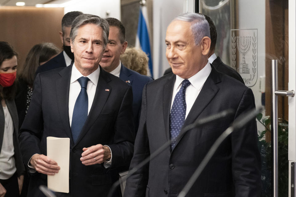 Secretary of State Antony Blinken speaks during a joint statement with Israeli Prime Minister Benjamin Netanyahu at the Prime Minister's office, Tuesday, May 25, 2021, in Jerusalem, Israel. (AP Photo/Alex Brandon, Pool)