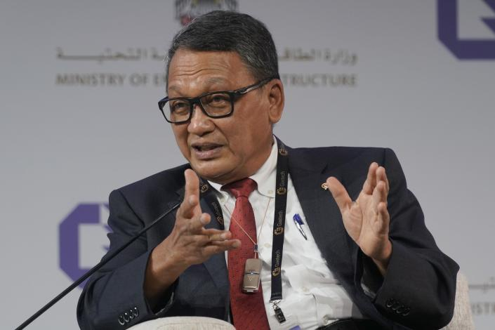 Indonesia's Energy and Mineral Resources Minister Arifin Tasrif gestures during a discussion on stage at the the Gastech 2021 conference in Dubai, United Arab Emirates, Tuesday, Sept. 21, 2021. Energy officials from Qatar and Turkey, long-standing foes of the United Arab Emirates, descended on Dubai along with hundreds of other executives on Tuesday, flocking to the largest gas expo in the world and the industry's first in-person conference since the pandemic began. (AP Photo/Jon Gambrell)