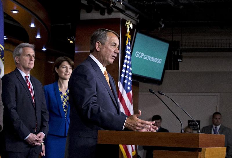 House Speaker John Boehner of Ohio, accompanied by House Majority Whip Kevin McCarthy of Calif., and Republican Conference Chair Rep. Cathy McMorris Rodgers, R-Wash., comments to reporters on Capitol Hill in Washington, Wednesday, March 13, 2013, following a closed-door meeting with President Barack Obama and House Republicans to discuss the budget. (AP Photo/J. Scott Applewhite)