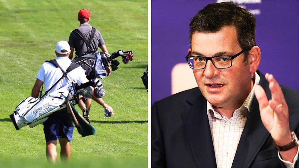Victorian Premier Daniel Andrews (pictured right) during a media conference and (pictured left) amateur golfers.