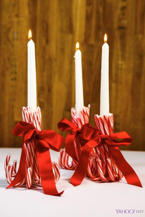 Sweet Candy Cane Candle Holders