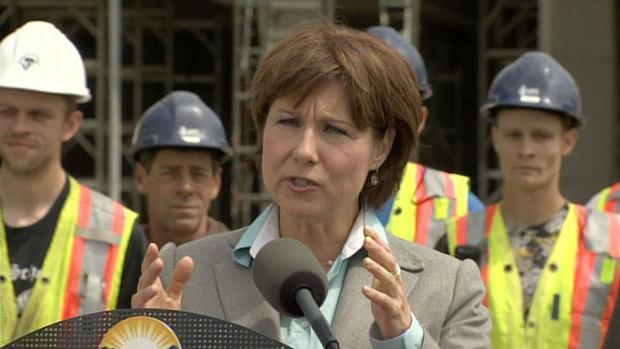 B.C. Premier Christy Clark, who does not have a seat in the legislature, appeared at a Victoria construction site on Wednesday morning.