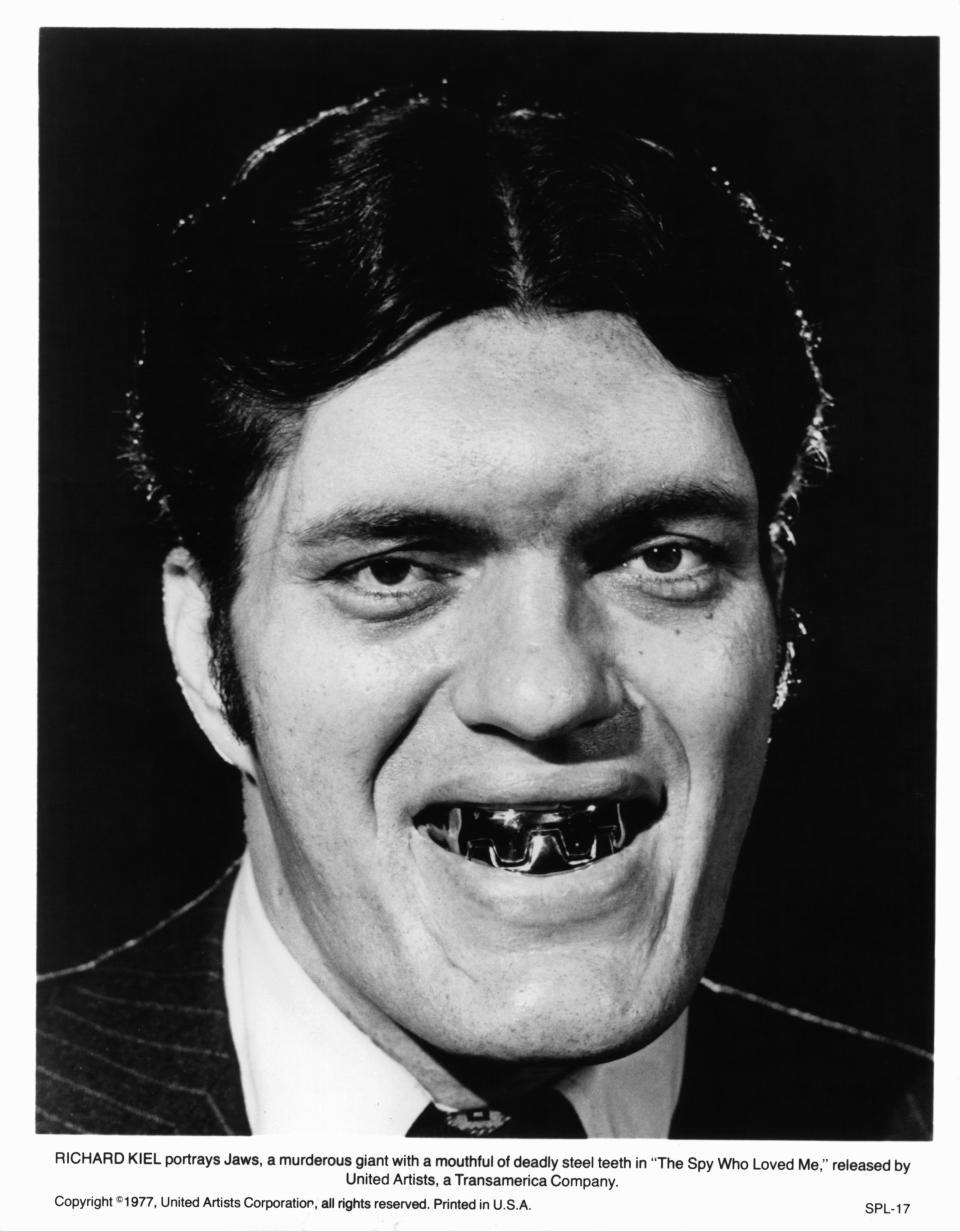 Richard Kiel portrays Jaws, a murderous giant with a mouthful of deadly steel teeth in a scene from the film 'The Spy Who Loved Me', 1977. (Photo by United Artist/Getty Images)