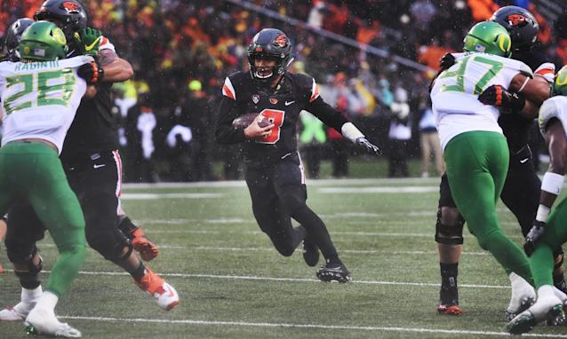 """<a class=""""link rapid-noclick-resp"""" href=""""/ncaaf/players/244347/"""" data-ylk=""""slk:Marcus McMaryion"""">Marcus McMaryion</a> started eight games for Oregon State. (Photo by Steve Dykes/Getty Images)"""