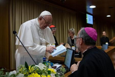 Pope Francis attends the four-day meeting on the global sexual abuse crisis, at the Vatican February 23, 2019. Vatican Media/Handout via REUTERS