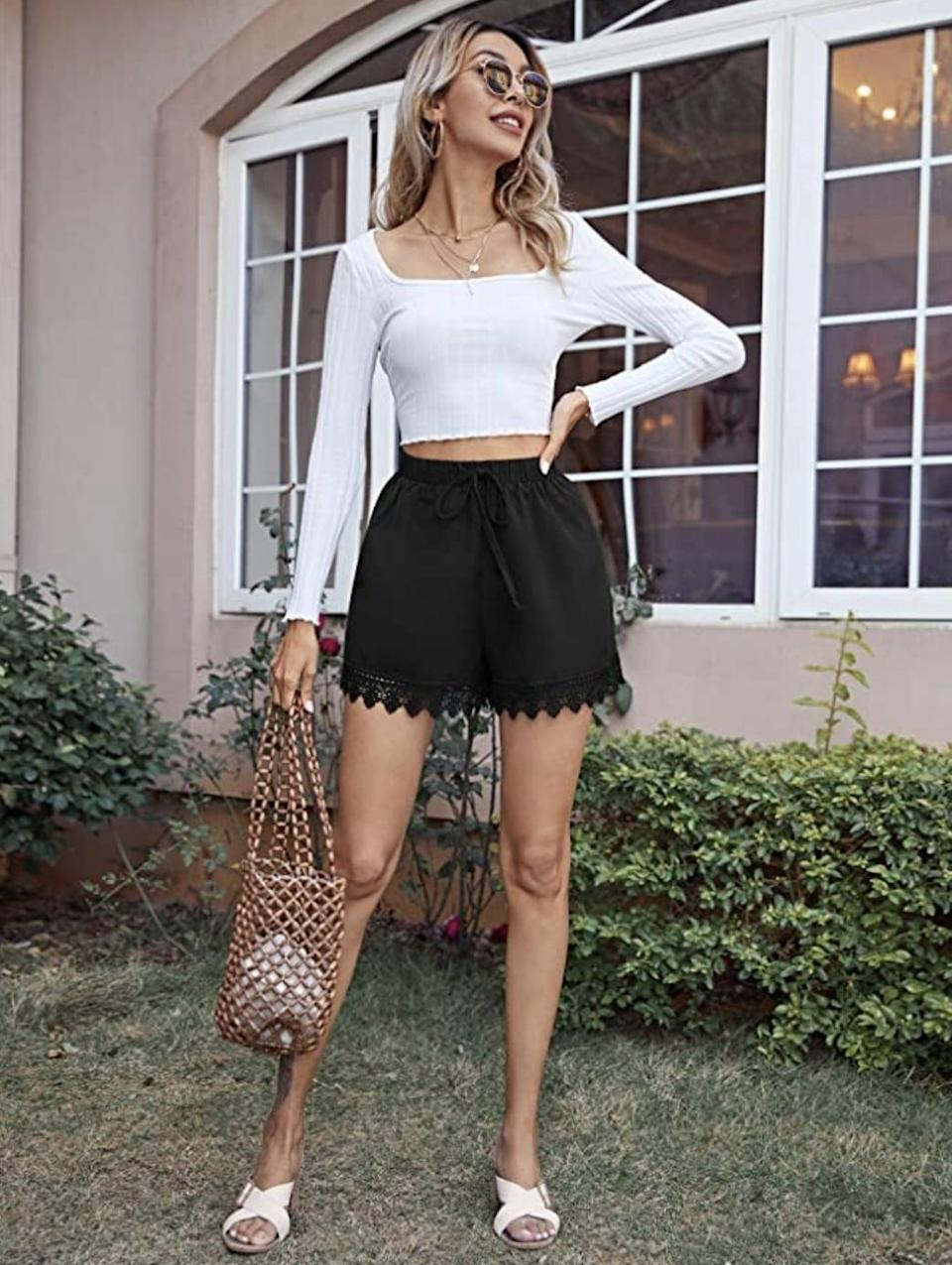 <p>You can wear these <span>MakeMeChic Scalloped Lounge Shorts</span> ($8 - $19) with a crop top to a music festival this season. </p>