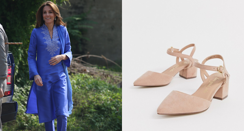 Kate Middleton wears New Look Wide Fit faux suede low block heeled shoes in tan