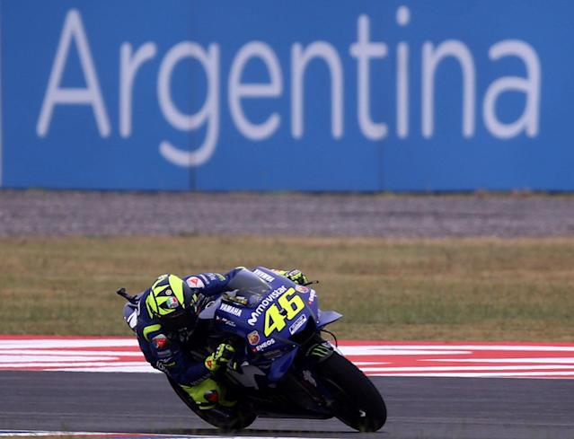 Motorcycle Racing - Argentina Motorcycle Grand Prix - MotoGP Practice Session - Termas de Rio Hondo, Argentina - April 7, 2018 - Movistar Yamaha rider Valentino Rossi of Italy races during the third practice session. REUTERS/Marcos Brindicci
