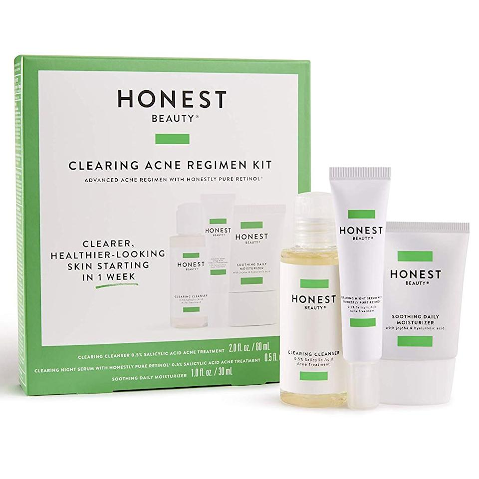 "<p>This magical set is made up of a trio of kickass products: Clearing Cleanser with salicylic acid, Clearing Night Serum With Honestly Pure Retinol (and a little more salicylic acid), and Soothing Daily Moisturizer, featuring the hydrating hyaluronic acid even oily skin needs. This three-step skin regimen helps amp up glowing skin all while clearing breakouts and minimizing fine lines. According to the brand, in just four weeks, you'll notice serious results. </p> <p><strong>$25</strong> (<a href=""https://www.honest.com/beauty-products/clearing-acne-regimen-kit/B01YNCV2NOSKS.html"" rel=""nofollow"">Shop Now</a>)</p>"