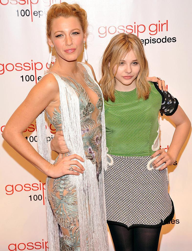 <p>The hit teen drama celebrated its 100th episode in New York City on Nov. 19, 2011. Lively's <i>Hick</i> co-star Chloë Grace Moretz comes to help her friend celebrate the show's milestone. <i>(Photo: Gary Gershoff/WireImage)</i></p>