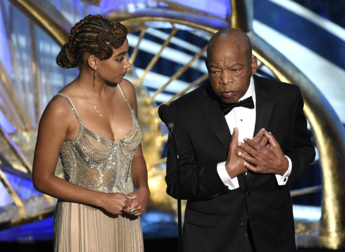 """Amandla Stenberg, left, and Rep. John Lewis, D-Ga, introduce """"Green Book"""" at the Oscars on Feb. 24, 2019, at the Dolby Theatre in Los Angeles. (Photo: Chris Pizzello/Invision/AP)"""