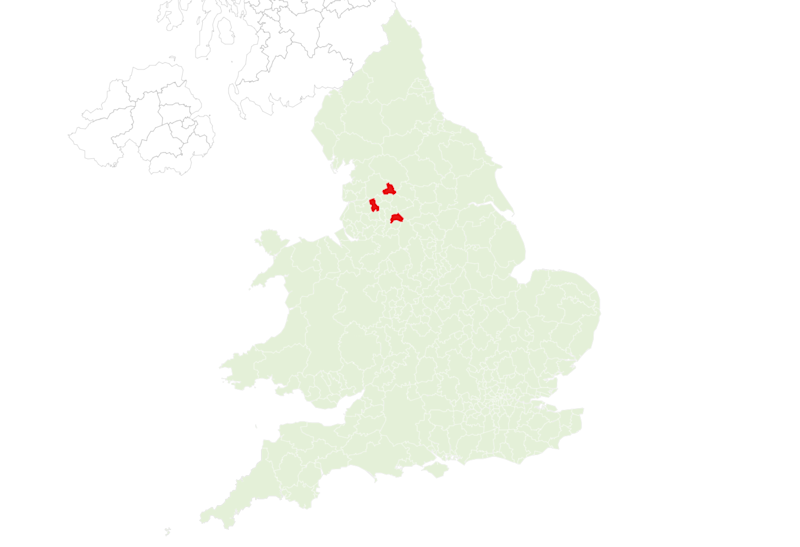 Map showing the current hotspots in England and Wales. (Imperial College London)