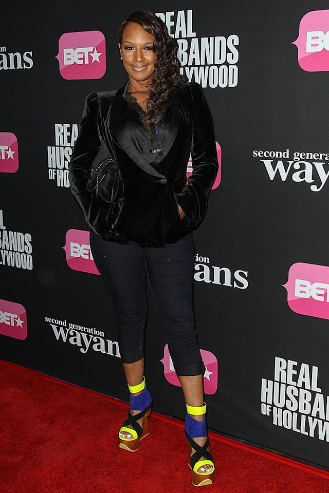 "Jackie Christie arrives at the screenings of BET Networks' ""Real Husbands of Hollywood"" and ""Second Generation Wayans"" held at the Regal Cinemas L.A. Live on January 8, 2013 in Los Angeles, California."