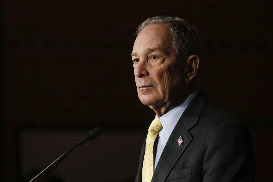 Bloomberg pauses during a campaign in Detroit last week. (Photo by Bill Pugliano/Getty Images)