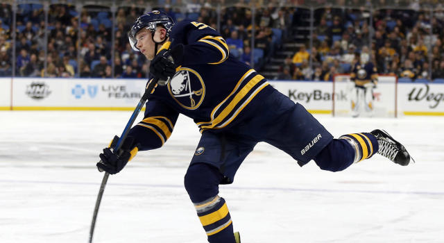 Buffalo Sabres defenceman Rasmus Ristolainen takes a shot on goal. (Timothy T. Ludwig-USA TODAY Sports)