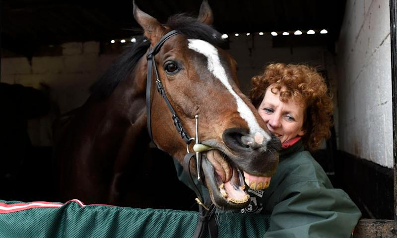 One For Arthur preparing for a victory parade with his trainer Lucinda Russell at her yard in Kinross