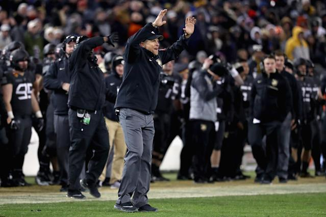 In 2016, Jeff Monken led Army to its first win over Navy in 14 years. (Photo by Rob Carr/Getty Images)