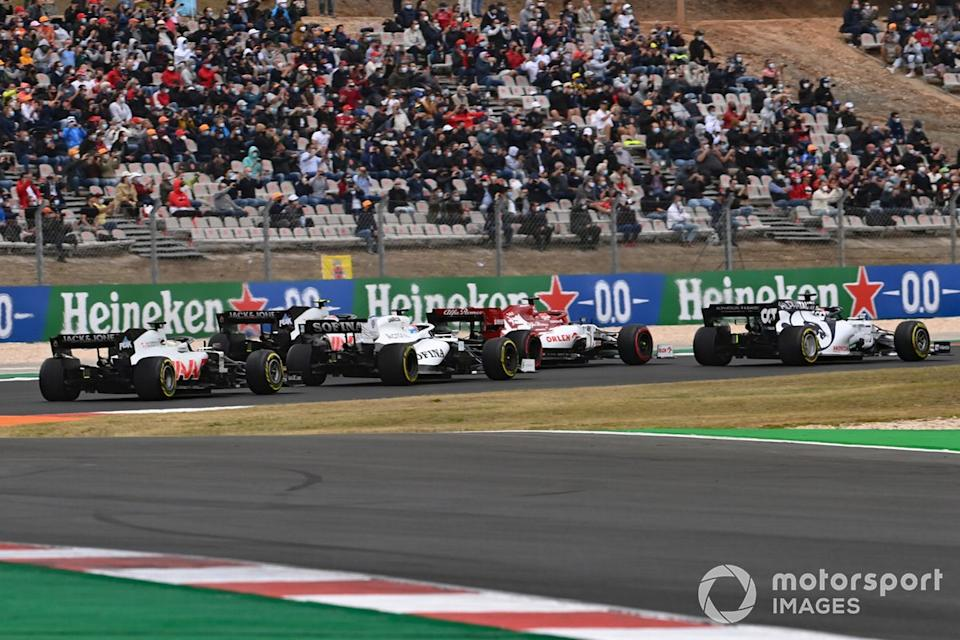 "Daniil Kvyat, AlphaTauri AT01 Kimi Raikkonen, Alfa Romeo Racing C39, George Russell, Williams FW43, Kevin Magnussen, Haas VF-20, Romain Grosjean, Haas VF-20 <span class=""copyright"">Mark Sutton / Motorsport Images</span>"