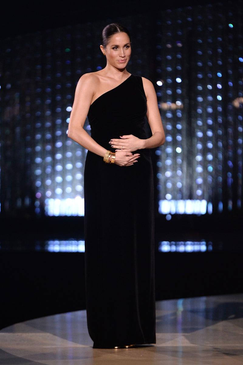 Meghan Markle during the British Fashion Awards 2018 In Partnership with Swarovski at Royal Albert Hall on December 10, 2018 in London, England.